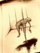 "Artwork by Tesura entitled ""Wire man hanging"""