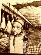 "Artwork by Tesura entitled ""Man in markets near legs of ham"""