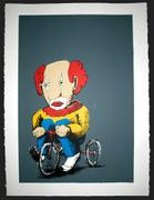 Artwork by Tesura entitled &quot;Clown on tricycle (print)&quot;