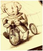 "Detail of artwork entitled ""Clown on tricycle (print)"" by Tesura"