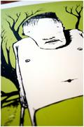"Detail of artwork entitled ""Chopperman (green)"" by Tesura"